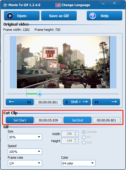 convertir MP4 en GIF avec Movie To GIF
