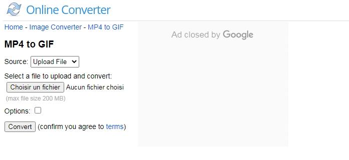 convertir MP4 en GIF sur le site Online Convert