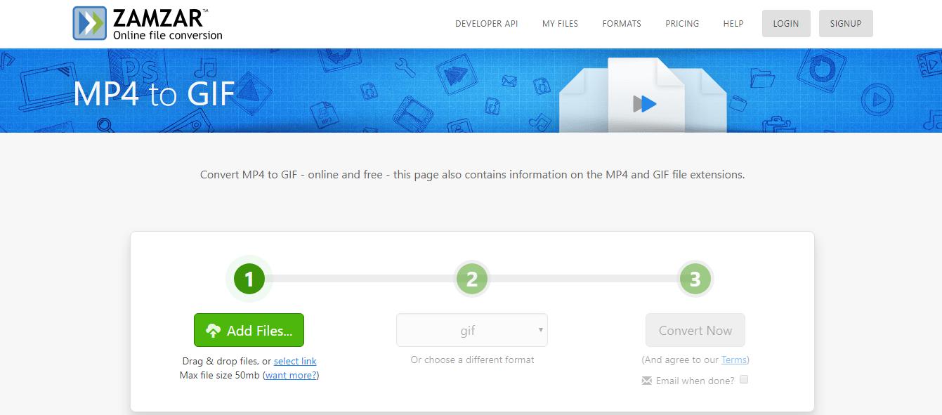 convertir MP4 en GIF sur le site Zamzar