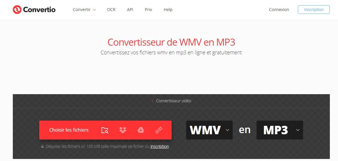 convertir WMV en MP3 sur le site Convertio