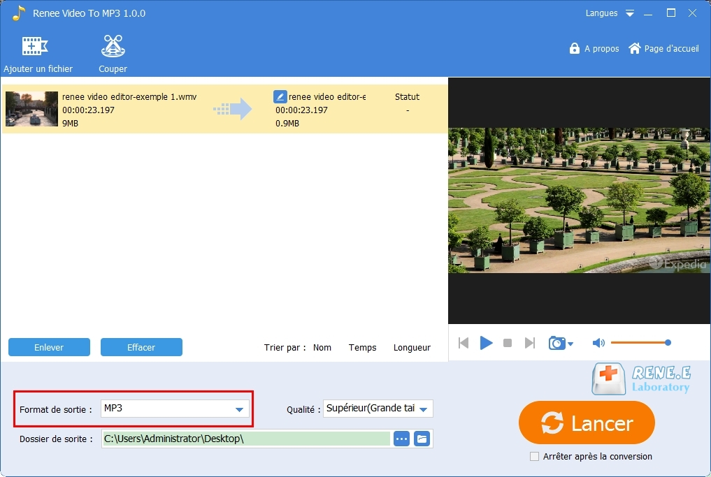 convertir WMV en MP3 avec Renee Audio Tools