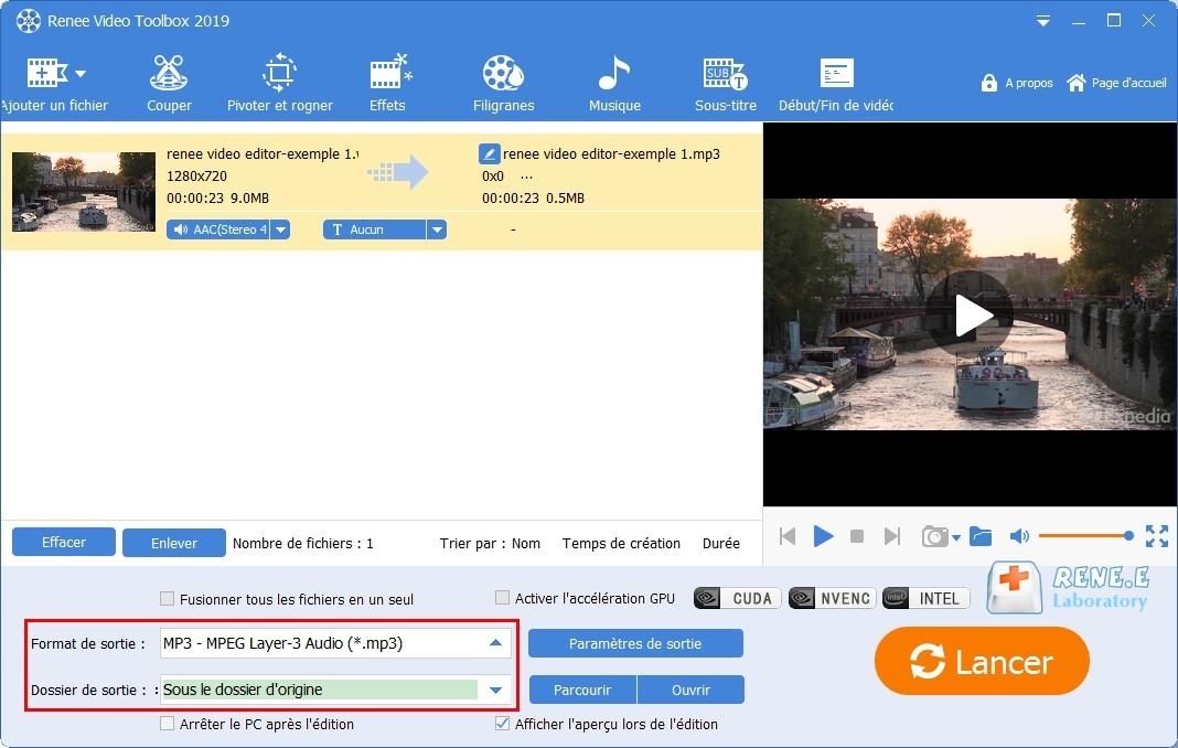 convertir WMV en MP3 avec Renee Video Editor Pro