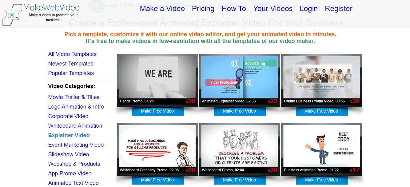 site de téléchargement d'intro video Make Web Video