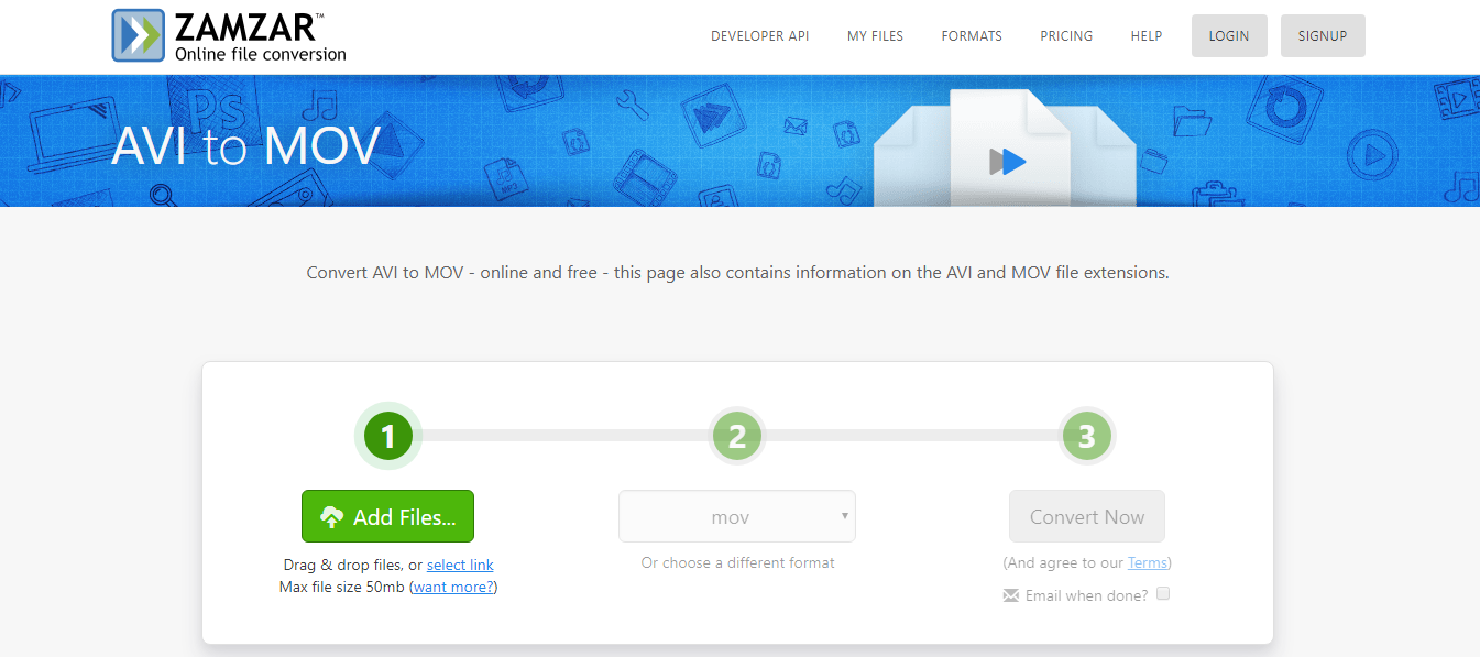 convertir AVI en MOV sur le site Zamzar