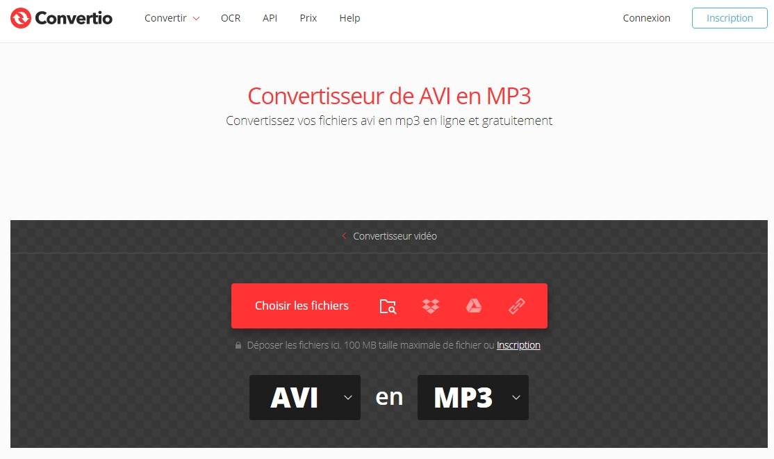 convertir AVI en MP3 sur le site Convertio