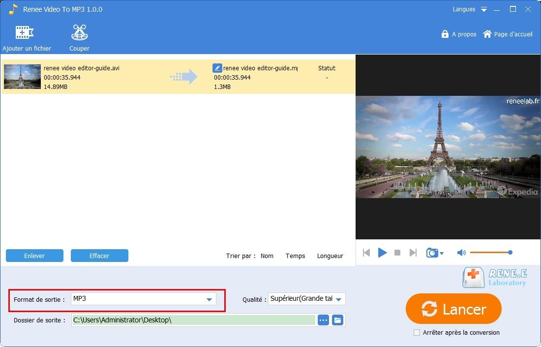convertir AVI en MP3 avec Renee Audio Tools
