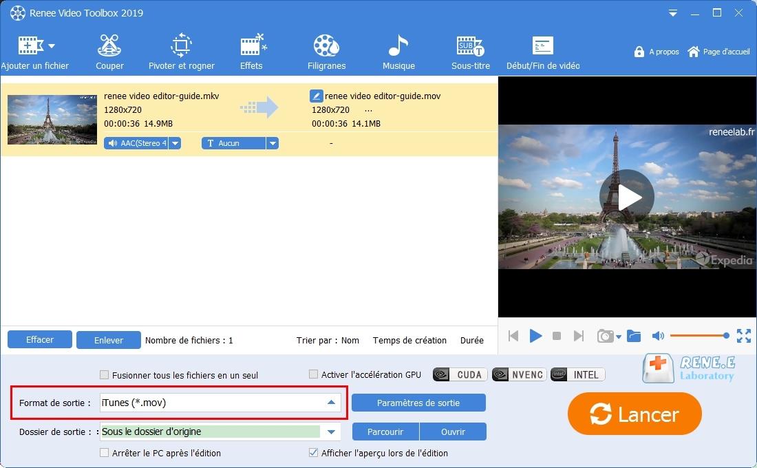 convertir une vidéo au format pris en charge par iTunes avec Renee Video Editor Pro