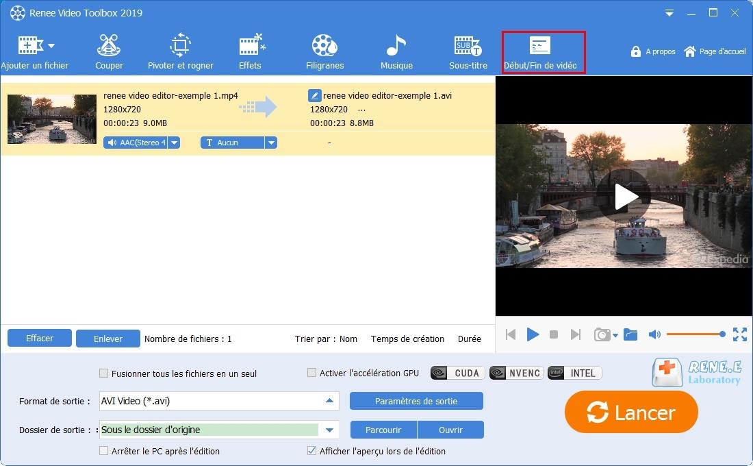 choisir la fonction début et fin de vidéo