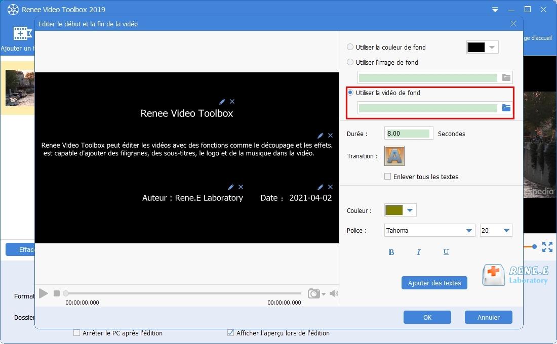 modifier les paramètres pour le début et la fin de vidéo