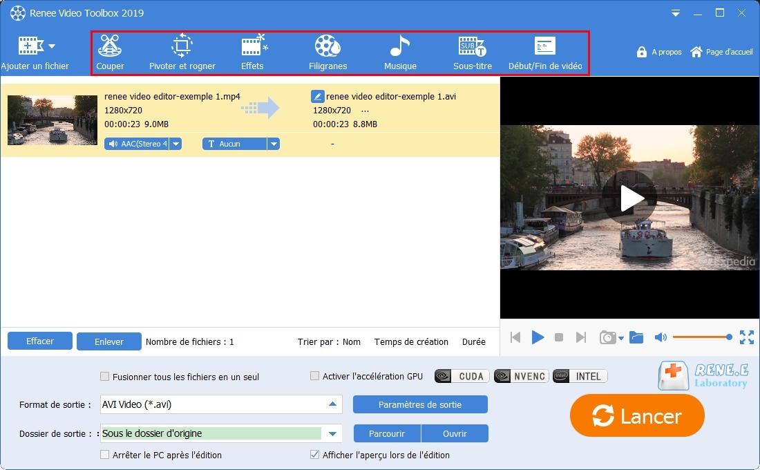 fonctions de Renee Video Editor Pro pour éditer une vidéo