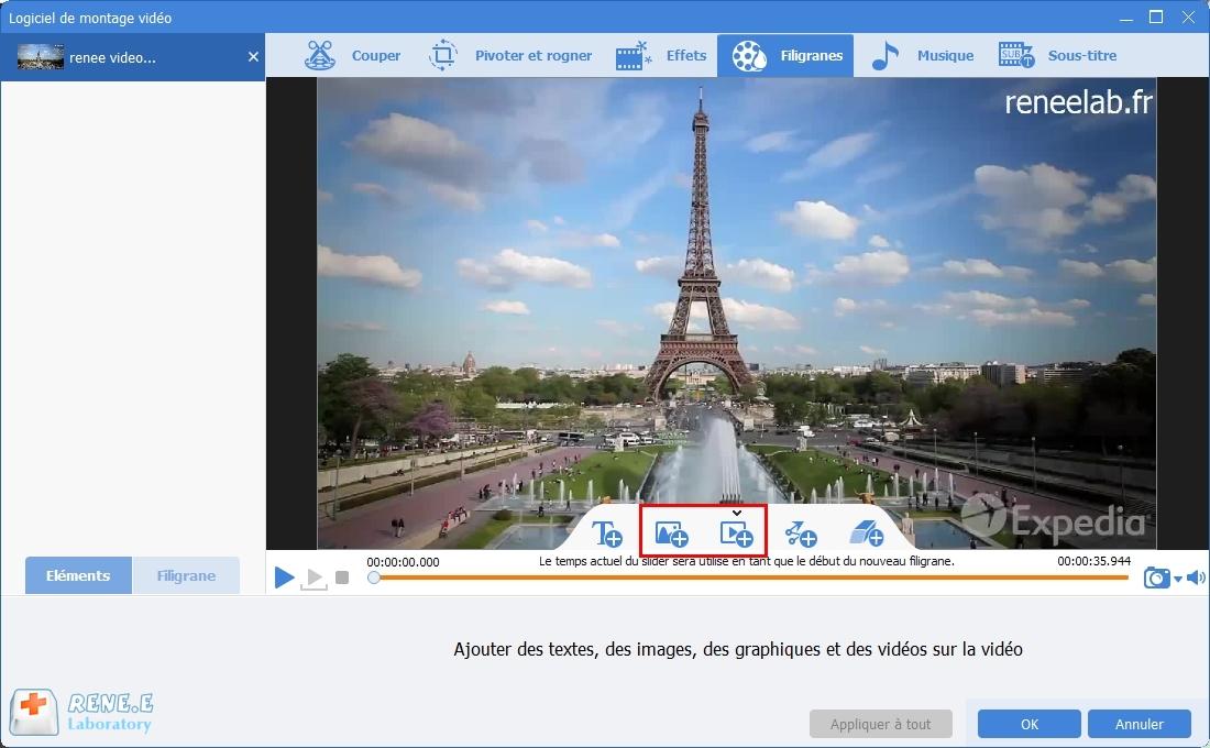 sélectionner la fonction filigranes de Renee Video Editor Pro