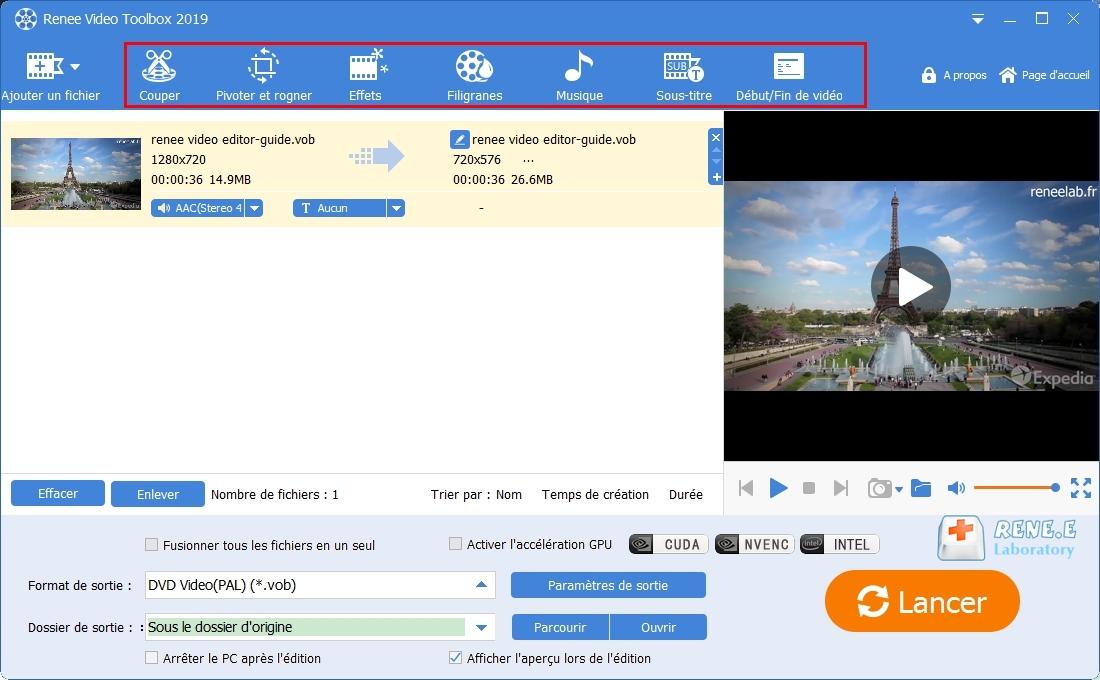 modifier le fichier VOB avec Renee Video Editor Pro