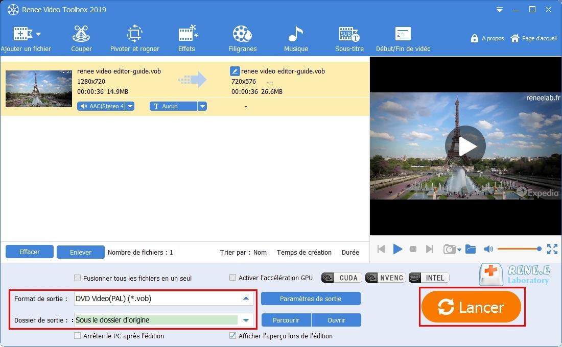 exporter le fichier vob après la modification