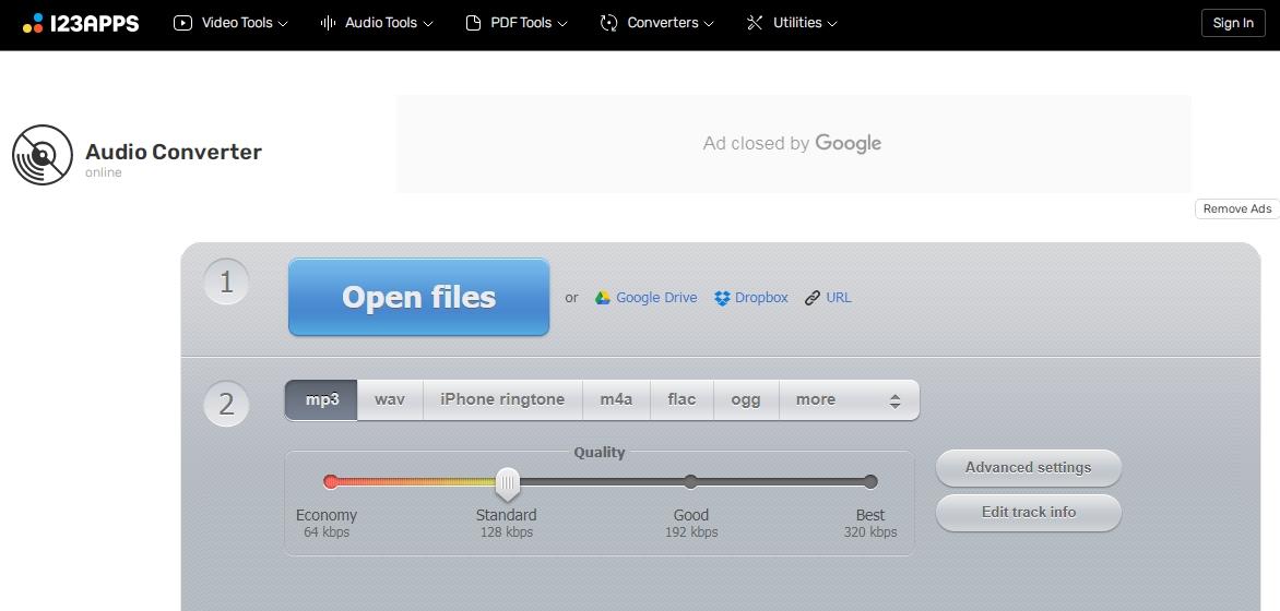 convertir une vidéo en MP3 sur le site Online Audio Converter