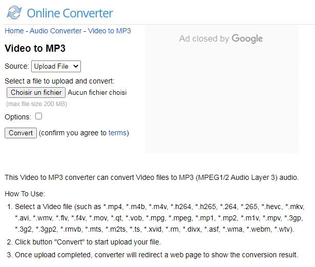 convertir une vidéo en MP3 sur le site Online Converter