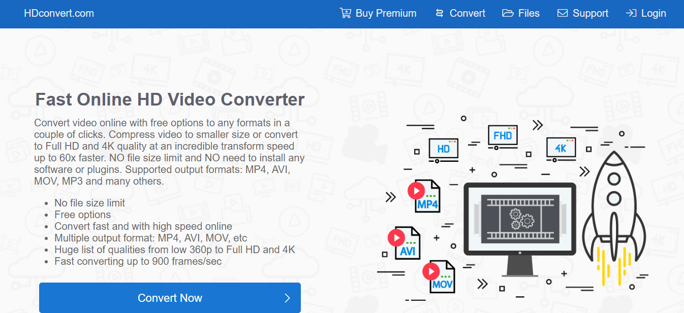 convertir une vidéo en MP4 sur le site HDconvert