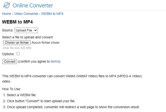 convertir WEBM en MP4 sur le site Online Converter