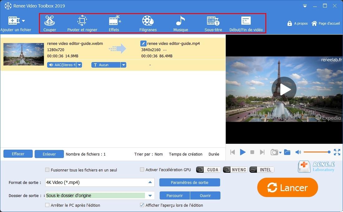 sélectionner les fonctions à éditer le fichier MP4