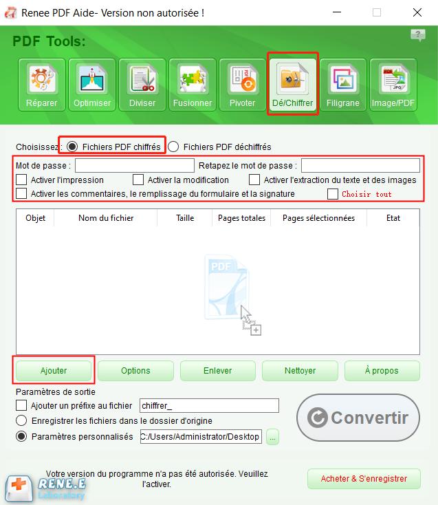chiffrer le fichier PDF avec Renee PDF Aide