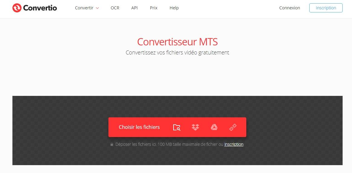 Convertir le fichier MTS sur le site Convertio