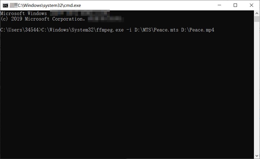 convertir le fichier MTS avec FFmpeg