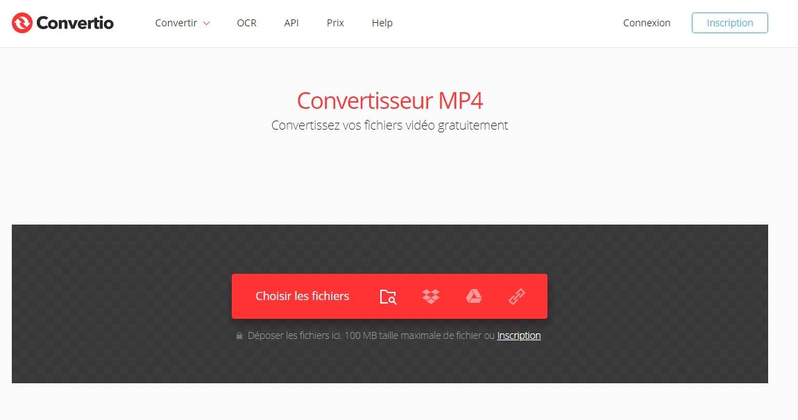 convertir la vidéo en MP4 sur le site Convertio