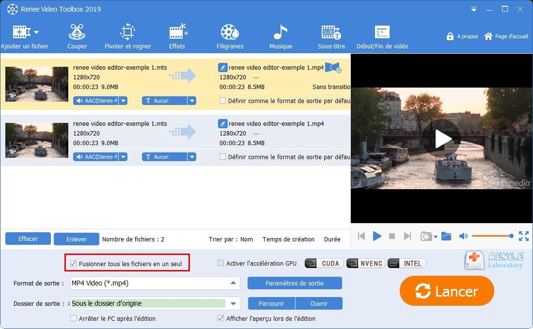 fusionner les fichiers MTS avec Renee Video Editor Pro