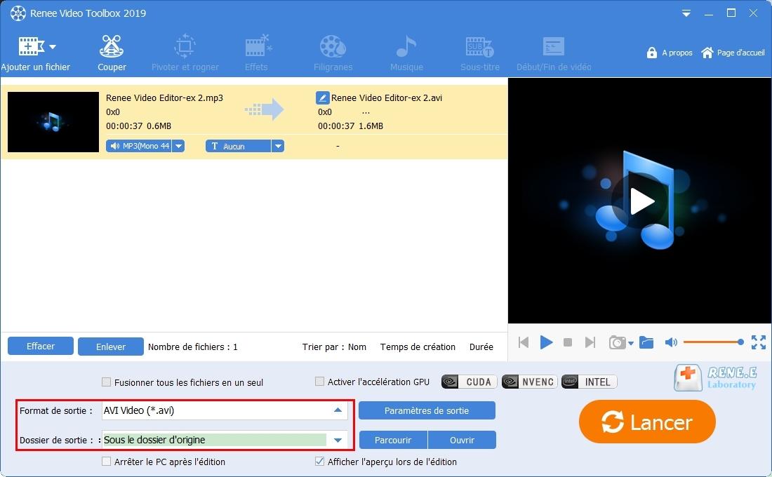 convertir MP3 en AVI avec Renee Video Editor Pro