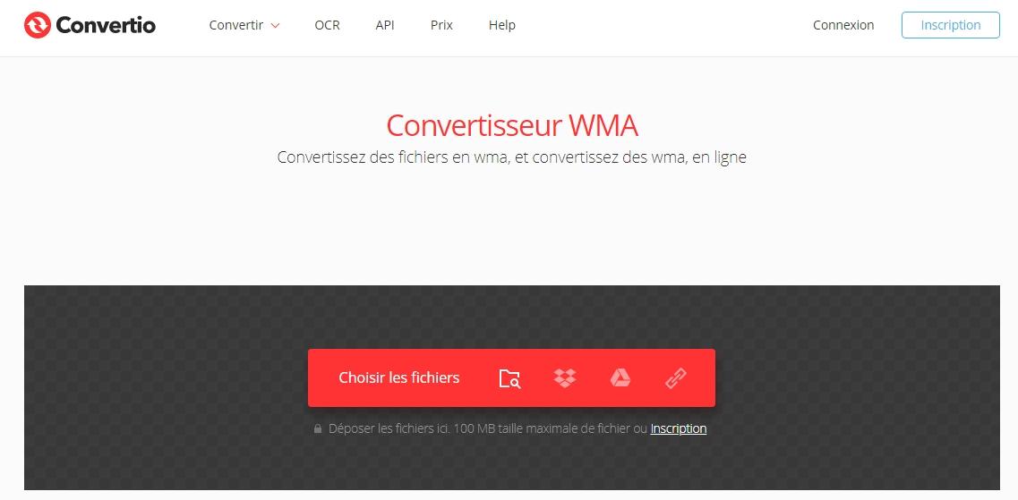 convertir les vidéos YouTube en WMA sur le site Convertio