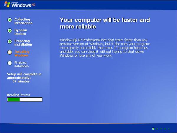 lancer l'installation de Windows XP