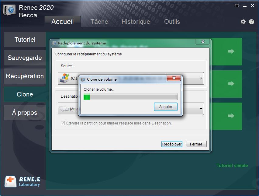 attendre le transfert du système Windows