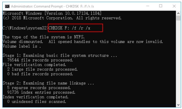 réparer le disque dur avec la commande chkdsk