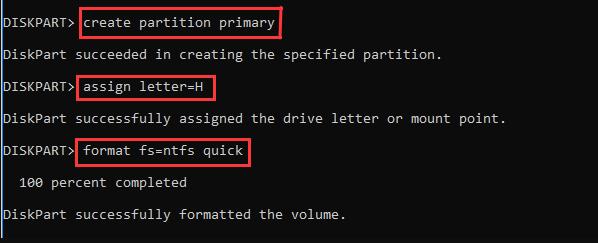 formater le disque Mac avec la commande diskpart
