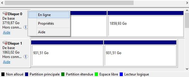 mettre le disque dur en ligne