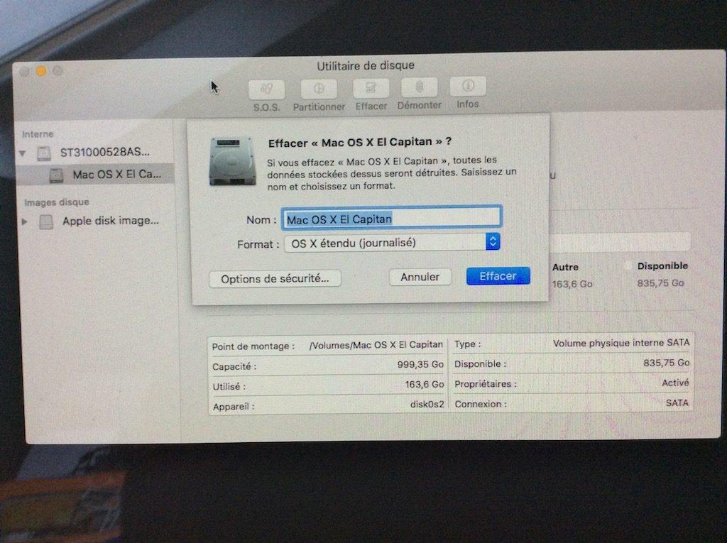 options de sécurité sur Mac