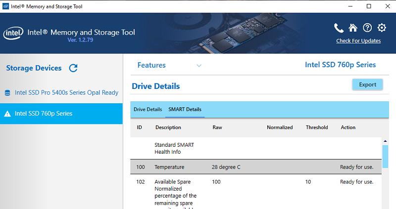 Mettre à jour le firmware avec Intel Memory and Storage Tool