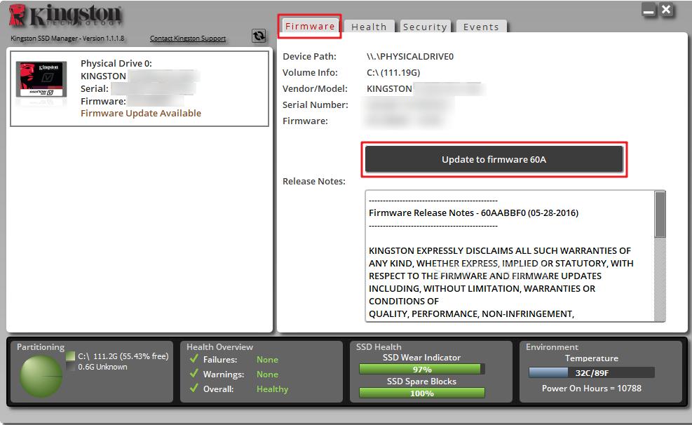 Mettre à jour le firmware avec Kingston SSD Manager