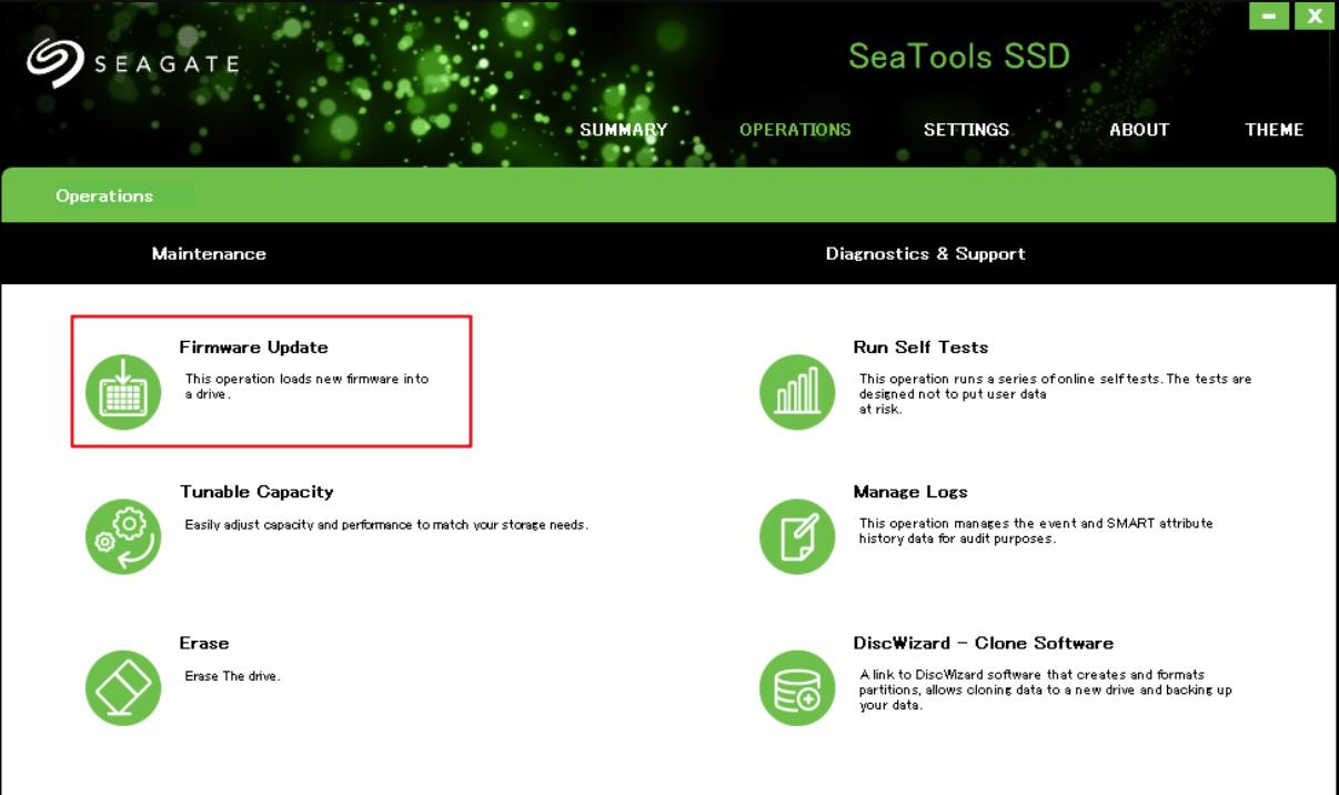 Mettre à jour le firmware avec Seagate SeaTools SSD