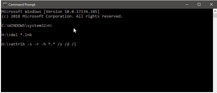 supprime le virus de raccourci avec la command CMD